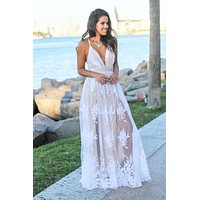 White and Nude Floral Tulle Maxi Dress with Criss Cross Back