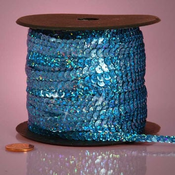 Saphire Blue Holographic Faceted Extra Sparkle String 6mm x 80 yards Sequins