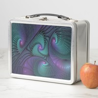Purple meets Turquoise modern abstract Fractal Art Metal Lunch Box