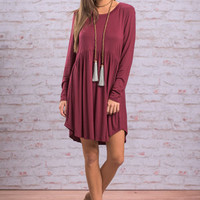 Classically Romantic Dress, Burgundy
