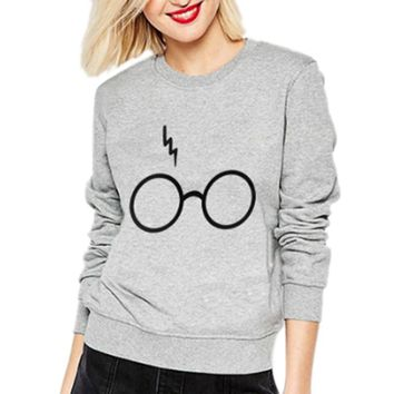 iSHINE 2017 New Spring Autumn Ladies Girl Harry Potter Glasses Sweatshirts Long Sleeve Pullover O-Neck harajuku Casual Hoodies