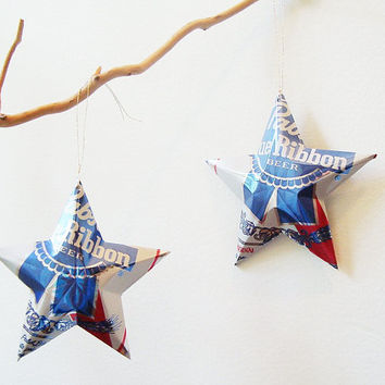 Pabst Blue Ribbon Beer Stars Christmas Ornaments Aluminum Can Upcycled PBR