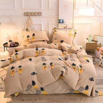 Luxury Fleece Bedding Set With Duvet Cover Bed Sheet 4pcs Children Kids Girl Cactus Pineapple Winter Bed Linen King Queen Size