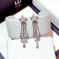 Women Temperament Fashion Diamond Five-pointed Star Eardrop Silver Needle Long Section Stud Earring
