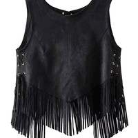 Black Faux Suede Lace Up Detail Open Back Tassel Vest