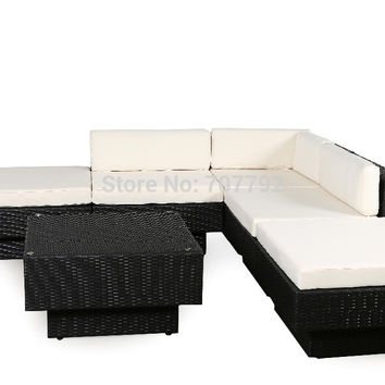2016 Hot Sale outdoor PE rattan wicker high back sofa set