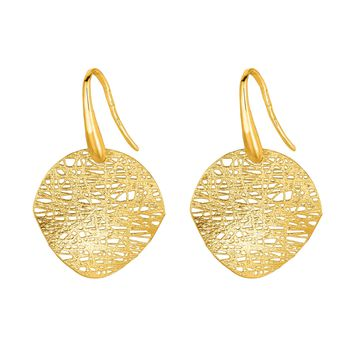 14K Yellow Gold 20mm Sanded Disc Drop Earring Stil Novo Collection