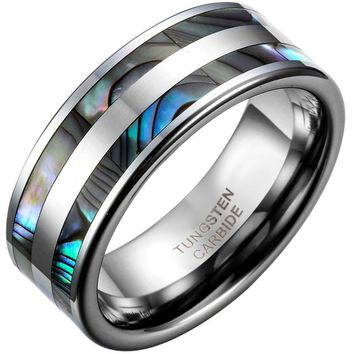 SHIPS FROM USA 8mm Top Quality Tungsten Carbide Ring with Double Abalone Shell Inlay for Men Engagement Wedding Bands anillos hombre