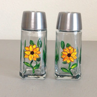 Salt and Pepper Shaker Set Hand Painted Sunflower