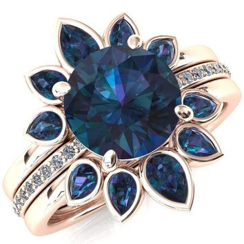 Flora Round Alexandrite 1/2 Eternity Accent Diamond Ring