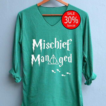 Mischief Managed Shirt Harry Potter Map Shirts V-Neck Green Unisex Adult Size S M L