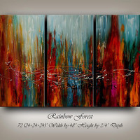 """Abstract Painting 72"""" Large Modern Wall Art by Nandita Red Blue Orange Hand Made Wall Hanging """"RAINBOW FOREST"""" Original Home Decor for Gift"""