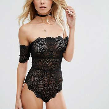 ASOS Mya Lace Bardot Body at asos.com