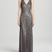 Adrianna Papell Gown - Sleeveless V-Neck Beaded