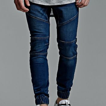 Bullhead Denim Co. Moto Slouched Skinny Jogger Pants - Mens Jeans - Blue