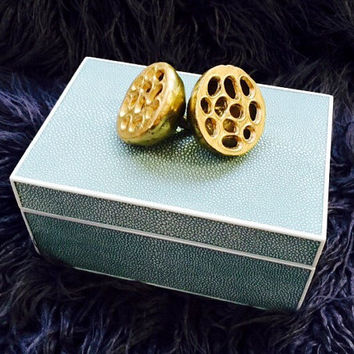Blue Shagreen Textured Box with Brass Lotus Pods, Metal Hinges, & Black Velvet Lining.