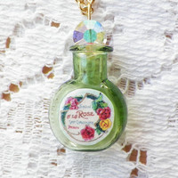 Tiny Green Glass Perfume Bottle with Vintage Paper Perfume Label Pendant / Necklace, Crystal Stopper