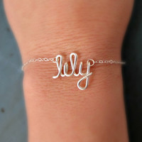 Name Bracelet Sterling Silver Initial Necklace Small Name Personalized Bridesmaid gifts Girlfriend gifts