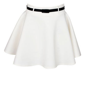 Cream Belted Skater Skirt at Fashion Union