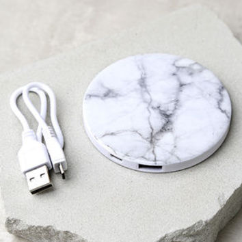 In Charge White Marble Print Phone Power Bank