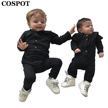 COSPOT Baby Boys Rompers Newborn Cotton Long Sleeve Plain Black Gray Jumpsuit Toddler Autumn Cotton Jumper Kids Pajamas 2017 E38
