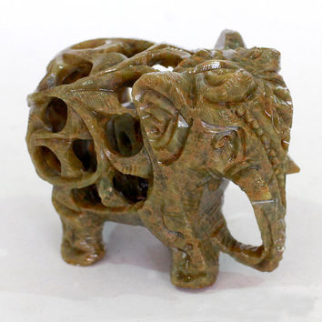 Elephant with baby inside  Figurine - resin from old Sri Lanka technology.