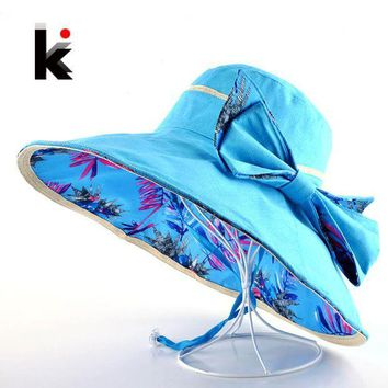 ESB1ON Beach Hat Summer Hats For Women Flower Pattern And Solid Colors Sides Use Fashion Visors Cap Sun Wide Big Brim Hat