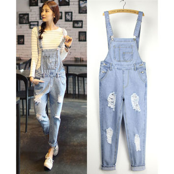 Women's casual hole ripped jeans Lady's loose plus size overalls Female denim jumpsuits Bib pants Free shipping