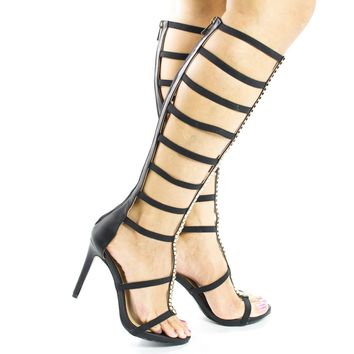 Sugarlove55M Black Pu By Aquapillar, Knee High Gladiator Snake Gold Trim Elasticized Stiletto High Heels