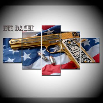2nd Amendment Gold Gun American Flag Five Piece Canvas Wall Art Home Decor