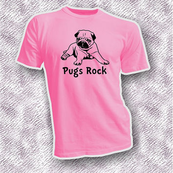 Pugs Rock chillin Pug dog animal lover black pugs cute puppy unisex shirt, pug dog gift ideas, pug lover apparel, gift for her, gift for him