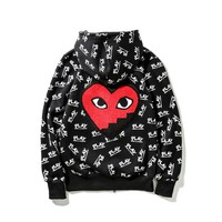 Towel embroidered love letters plus cashmere sweater men and women lovers hooded jacket