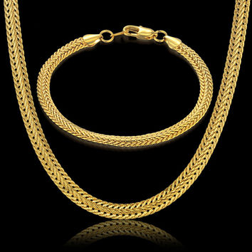 Indian Gold Jewelry Sets 6MM Snake Chain For Men/Women Wedding Party Jewelry Trendy Gold Color Chain Necklace Bracelet 2pcs Set