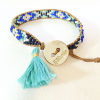 Navy Cobalt Mint Turquoise White Beaded Loom Bead Friendship Bracelet with Signature Gold Plated Button Adjustable with Handmade Tassel