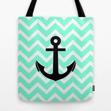 Tiffany Chevron Anchor Tote Bag by RexLambo