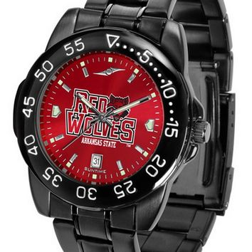 Arkansas State Red Wolves Mens Watch Fantom Gunmetal Finish Red Dial