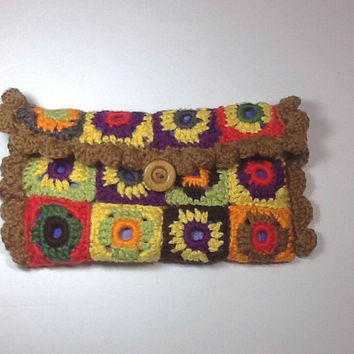 Crochet Granny Square Clutch, colorful small purse, eyeglass case, fabric lined handbag, unique clutch, one of a kind bag