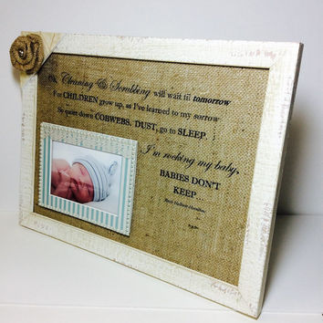 Newborn boy frame, 6x4 baby photo frame, gift for new Mum, nursery decor, baby print, Cleaning & Scrubbing poem, newborn gift, baby shower