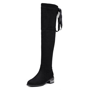 Suede Over the Knee Boots Winter Shoes for Woman 6901