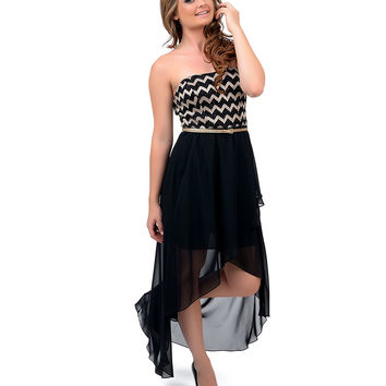 Black & Gold Chevron Strapless High-Low Dress Prom 2015