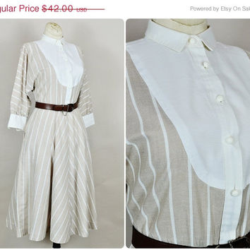 30% OFF SALE neutral nude beige white striped full skirt tuxedo babydoll bib indi boho midi dress vintage 1980s