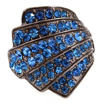 gunmetal and blue art deco crystal ring