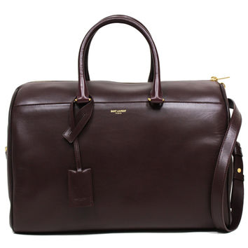 SAINT LAURENT YSL 12 HOUR DUFFLE LARGE LEATHER SATCHEL DEEP BURGUNDY SHOULDER BAG 322050