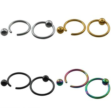 SUNYIK 1Pc Ball Closure Ring Captive Bead Rings CBR BCR Hoop Stainless Steel Earring Lip Piercing Tragus