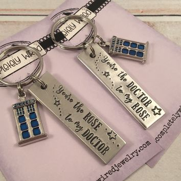 You're the Rose to my Doctor / You're the Doctor to my Rose - Doctor Who Inspired Keychains - READY TO SHIP