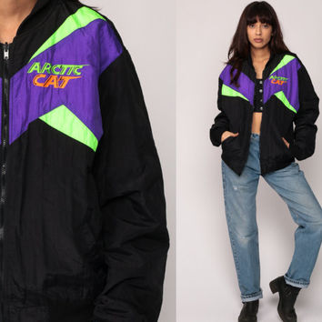 Neon Ski Jacket PUFFY Jacket Puffer Coat 90s ARCTIC CAT Striped Retro Hipster Vintage Puff Black Purple Green Winter Coat Medium