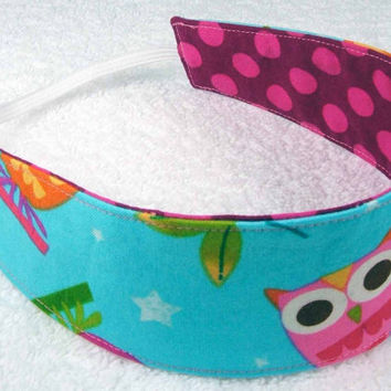 Children reversible headband in Robert Kaufman On A Whim, and Michael Miller Ta Dots - Fabric Kid Toddler Child - Bandeau réversible