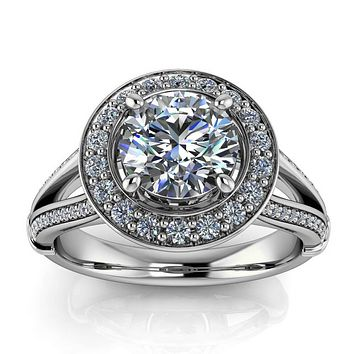 Round Split Shank Diamond Moissanite Engagement Ring - Paloma