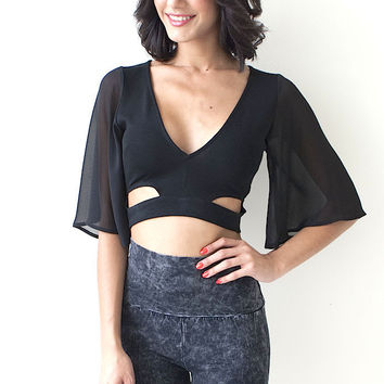 Apple Crop Top - Black