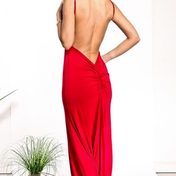 RED V NECKLINE SLEEVELESS BACK LESS V LINE LOOK MAXI SEXY CLUBBING PARTY BODY-CON DRESS